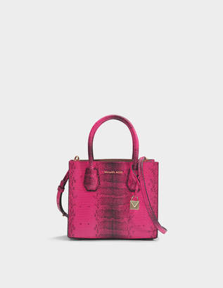 MICHAEL Michael Kors Mercer Medium Messenger Bag in Ultra Pink Python Embossed Calfskin