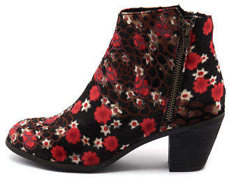I Love Billy New Nolo Black&Red Flowe Womens Shoes Casual Boots Ankle