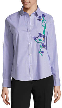 Liz Claiborne Long Sleeve Embroidered Striped Button-Front Shirt