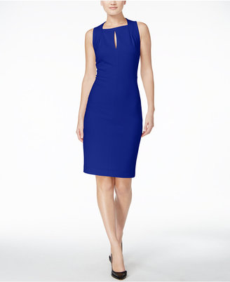 Calvin Klein Keyhole Scuba Crepe Sheath Dress $134 thestylecure.com
