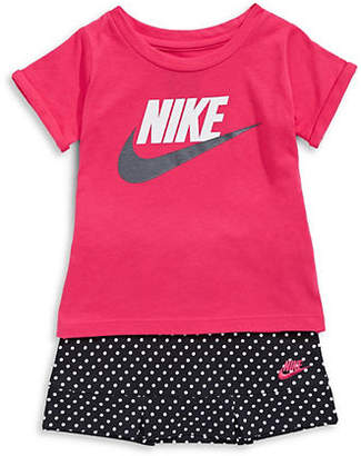 Nike Two-Piece Tee and Dotted Skirt Set