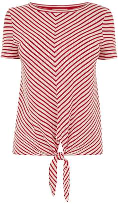 Oasis Chevron Stripe Tie Front Tee