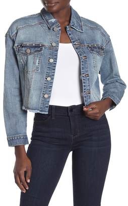 Liverpool Jeans Co Dropped Shoulder Studded Crop Jacket