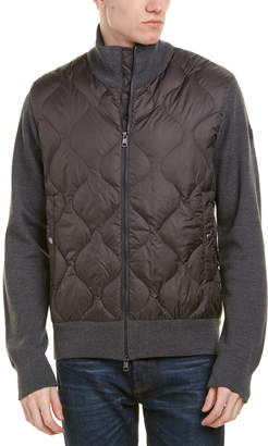 Moncler Stanley Quilted Wool-Blend Down Sweater Jacket