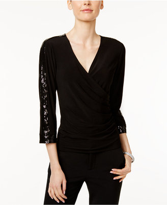Msk Sequined Faux-Wrap Top $59 thestylecure.com