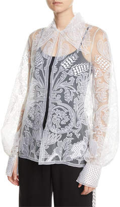 Naeem Khan Semisheer Embroidered Button-Front Blouse