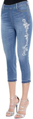 Ermanno Scervino Lace Embroidered Capri Denim Jeans