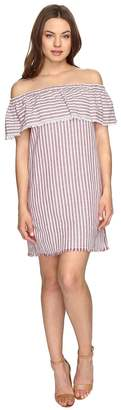 Brigitte Bailey Finley Off the Shoulder Raw-Edge Striped Dress Women's Dress