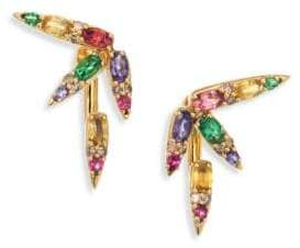 Nikos Koulis Spectrum Brown Diamond, Tsavorite, Iolite, Pink Tourmaline, Yellow Beryls& Rhodolite Ear Jacket