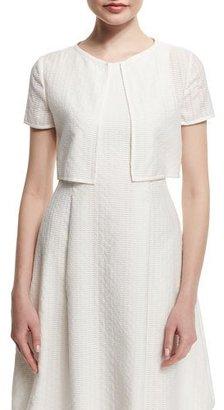 Armani Collezioni Short-Sleeve Lattice Burnout Bolero, White $395 thestylecure.com