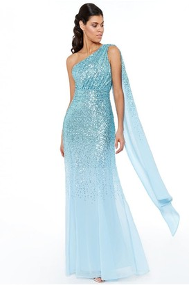 Goddiva Powderblue One Shoulder Sequin & Chiffon Maxi Dress