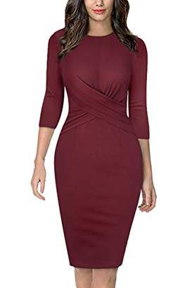 Moyabo Work Dress for Women 3/4 Sleeve Round Neck Twist Front Sheath Slim Business Pencil Dress
