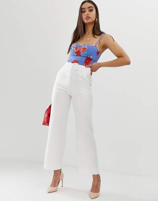 Fashion Union wide leg pants with waist belt co-ord