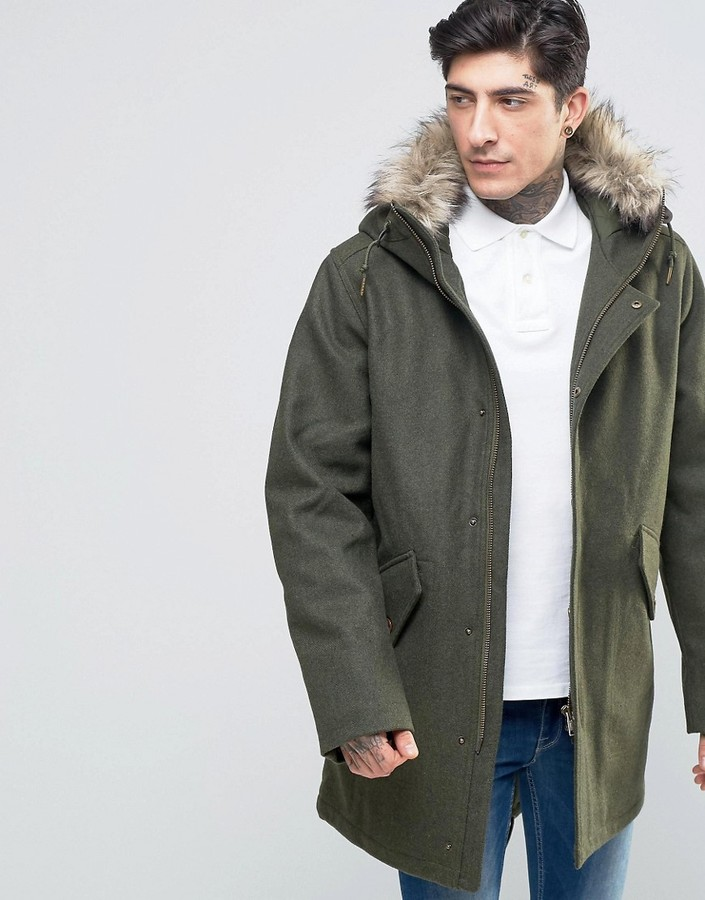 Fred PerryFred Perry Parka In Wool With Faux Fur Trim In Thorn