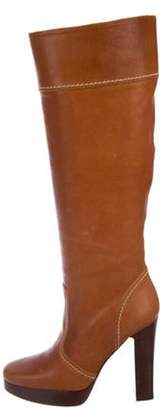 Michael Kors Leather Knee-High Boots Brown Leather Knee-High Boots