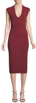 MICHAEL Michael Kors V-Neck Sleeveless Jersey Midi Dress