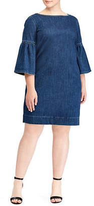 Lauren Ralph Lauren Plus Bell-Sleeve Denim Shift Dress