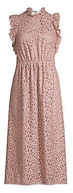 Kate Spade Women's Flora Crochet Lace Ruffle Midi Dress - Size 0