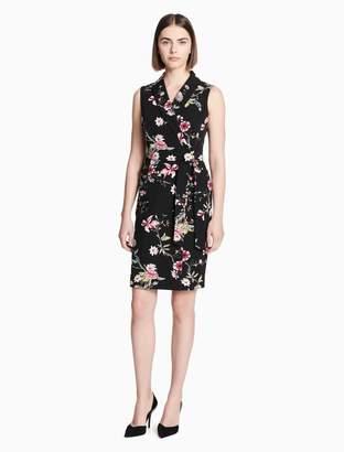 Calvin Klein floral belted wrap dress