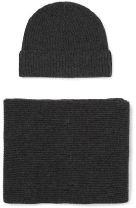 Johnstons of Elgin Ribbed Cashmere Scarf And Beanie Set