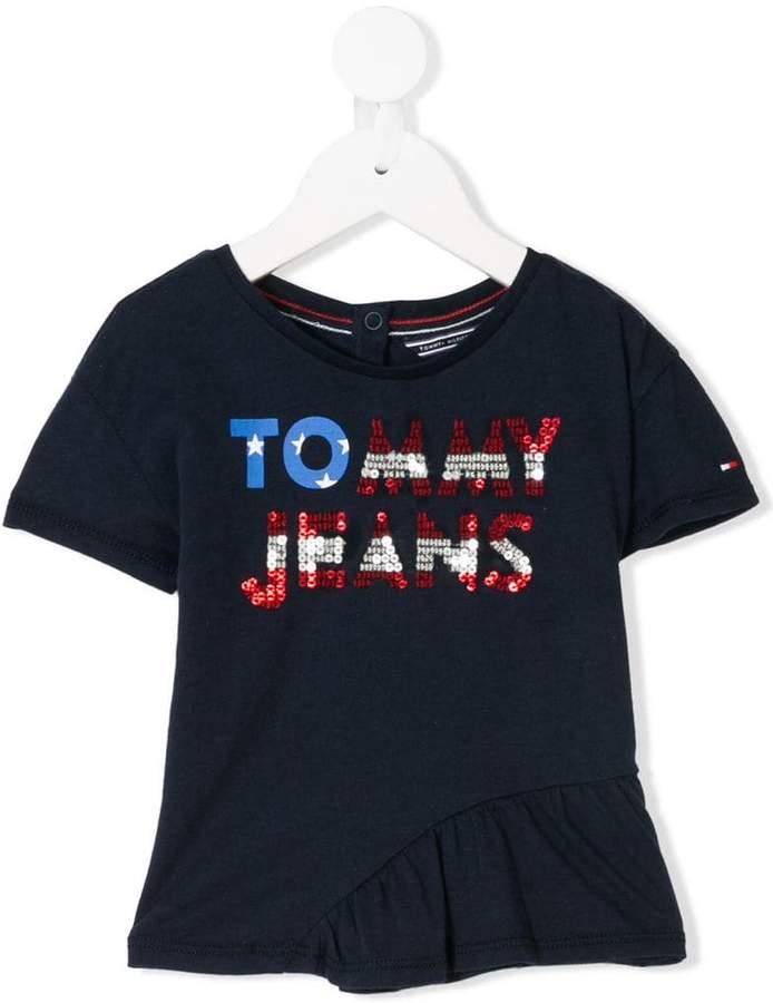 Tommy Hilfiger Junior sequin embellished logo T-shirt