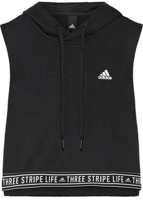 adidas Printed Cropped Cotton-blend Terry Hooded Top - Black