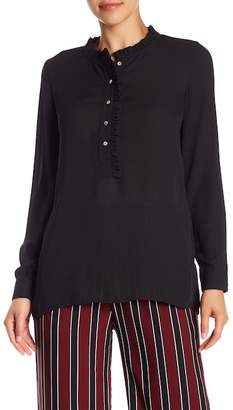 Blvd Ruffle Mock Neck Blouse