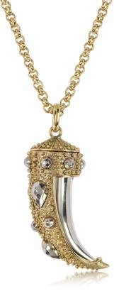 Roberto Cavalli Horn Two-tone Metal Necklace