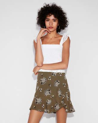 Express Paisley Ruffle Hem Mini Skirt