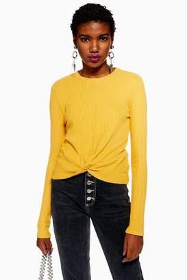 Topshop Womens Long Sleeve Twist Waffle T-Shirt