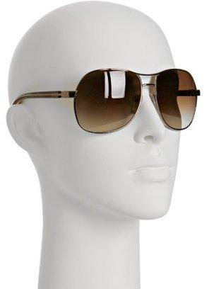 Prada brown metal aviator sunglasses