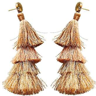 Deepa Gurnani Deepa by Tassel Fringe Earrings in Beige