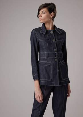 Giorgio Armani Safari Stretch Denim Jacket With Belt
