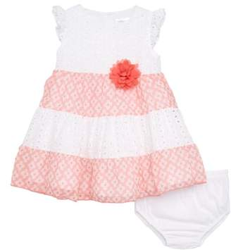 Blush by Us Angels Eyelet Lace Dress with Chiffon Trim