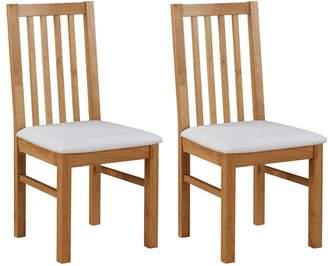 Debenhams Pair Of Oak 'Fenton' Chairs With White Seat Pads