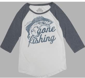 Awake Women's 3/4 Sleeve Gone Fishing Graphic T-Shirt White