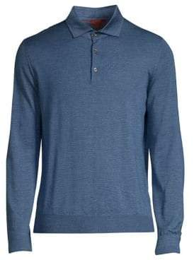 Isaia Cashmere and Silk Long Sleeve Polo