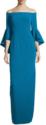 Milly Off-the-Shoulder Column Gown, Azure $675 thestylecure.com