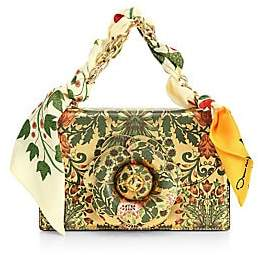 Oscar de la Renta Women's Tropical Print Silk & Leather Chain Crossbody Bag