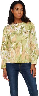 Denim & Co. Watercolor Printed Button Front Jean Jacket
