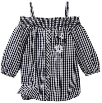 Design History Gingham Cold Shoulder Top (Little Girls)