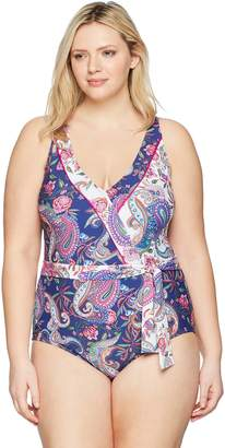 LaBlanca La Blanca Women's Plus Size V-Front Robe Tie One Piece Swimsuit, Purple/Pink/White/Scarf Gypsy Print