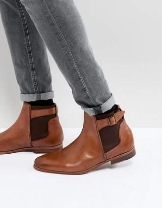 Asos Chelsea Boots In Tan Leather With Strap
