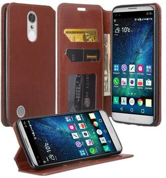 LG Electronics Coverlab K4 (2017)   Fortune   Phoenix 3 Case, Slim Magnetic Fold[Kickstand] Pu Leather Wallet Case with ID & Credit Card Slots - Brown