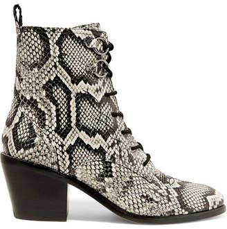 Diane von Furstenberg Dakota Lace-up Snake-effect Leather Ankle Boots - Snake print
