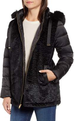 Via Spiga Mixed Media Puffer Jacket