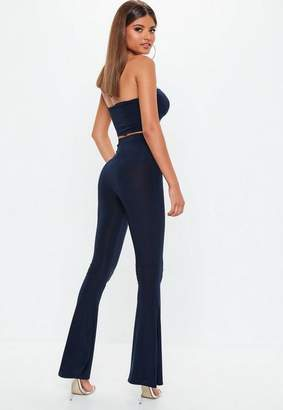 Missguided Navy Slinky Flare Trousers