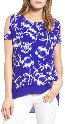 Women's Chaus Stencil Bloom Cold Shoulder Blouse $69 thestylecure.com