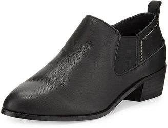 Kelsi Dagger Veronik Leather Low-Heel Bootie, Black $99 thestylecure.com
