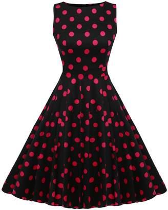 ACEVOG Womens Slim Fit Floral Scoop Neck Sleeveless Summer Dress